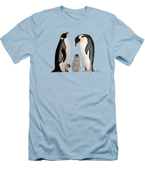 Penguin Family Watercolor Men's T-Shirt (Athletic Fit)