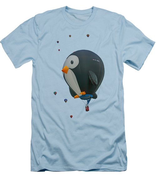 Penguin - Hot Air Balloon - Transparent Men's T-Shirt (Slim Fit) by Nikolyn McDonald