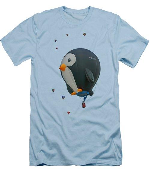 Men's T-Shirt (Slim Fit) featuring the photograph Penguin - Hot Air Balloon - Transparent by Nikolyn McDonald