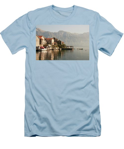Men's T-Shirt (Slim Fit) featuring the photograph Perast Restaurant by Phyllis Peterson