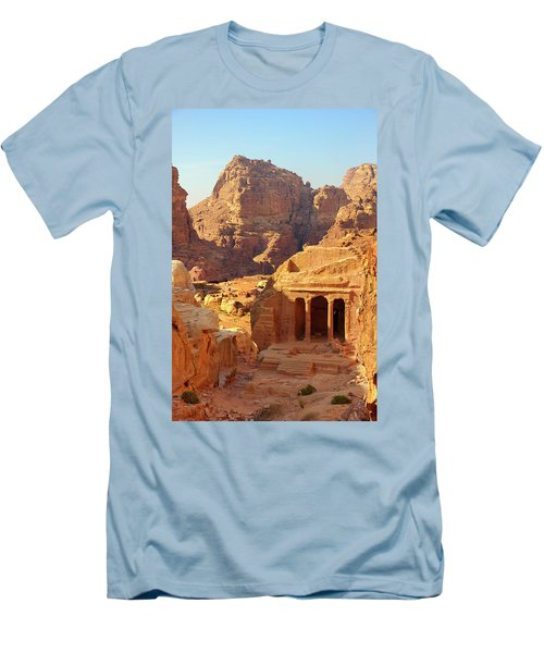 Men's T-Shirt (Slim Fit) featuring the photograph Petra Buildings, Pond And Gardens Complex by Nicola Nobile
