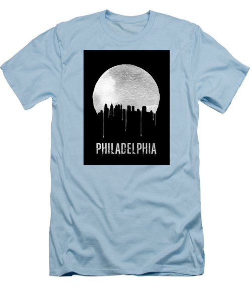 Philadelphia Skyline Black Men's T-Shirt (Slim Fit) by Naxart Studio