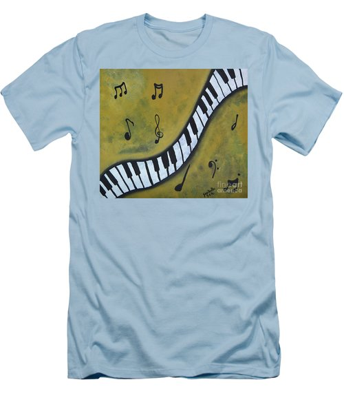 Piano Music Abstract Art By Saribelle Men's T-Shirt (Slim Fit) by Saribelle Rodriguez