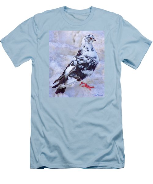 Men's T-Shirt (Slim Fit) featuring the photograph Pigeon On Ice  1 by John Selmer Sr