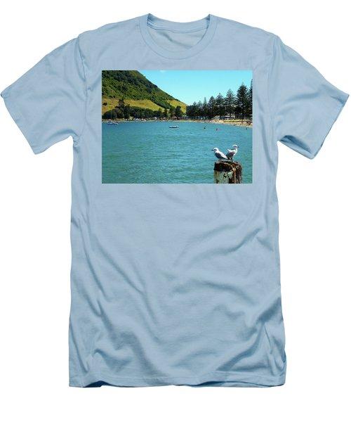 Pilot Bay Beach 5 - Mt Maunganui Tauranga New Zealand Men's T-Shirt (Slim Fit) by Selena Boron