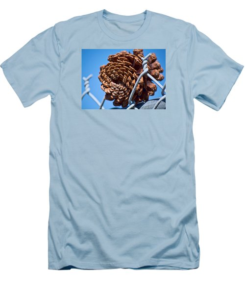 Pine Cone On The Fence Men's T-Shirt (Slim Fit) by Cathy Jourdan
