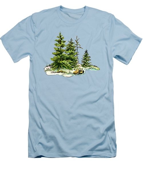 Pine Tree Watercolor Ink Image I         Men's T-Shirt (Athletic Fit)
