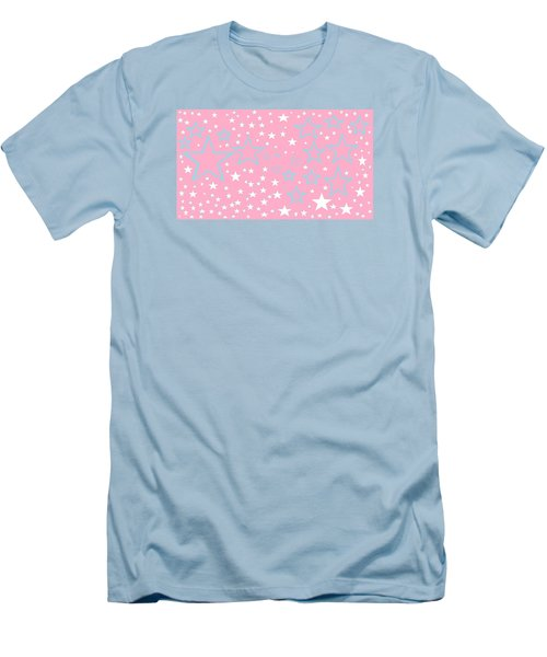 Pink And Turquoise Stars 1 Men's T-Shirt (Slim Fit) by Linda Velasquez