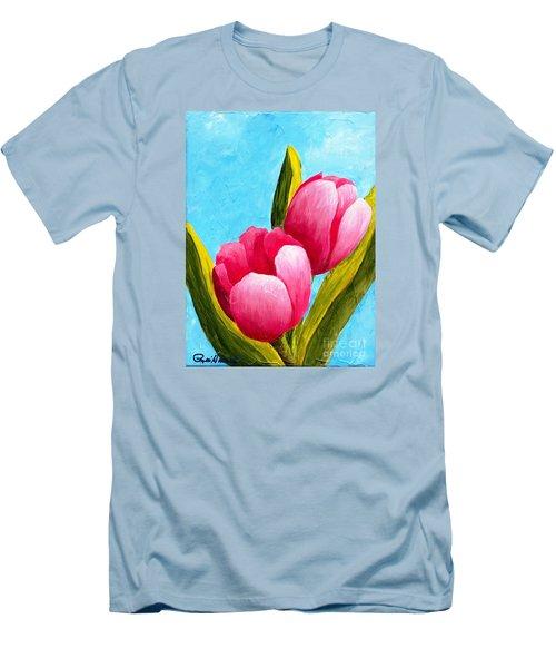 Pink Bubblegum Tulips I Men's T-Shirt (Slim Fit) by Phyllis Howard