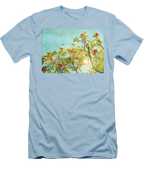 Pink Camellia Japonica Blossoms And Sun In Blue Sky Men's T-Shirt (Slim Fit) by Brooke T Ryan