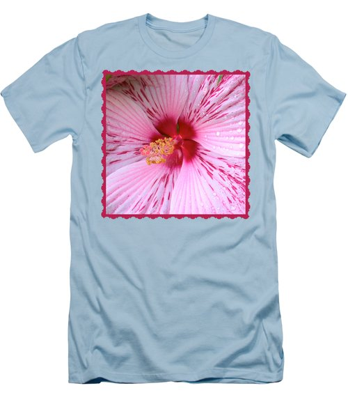 Pink Hibiscus Macro Men's T-Shirt (Athletic Fit)