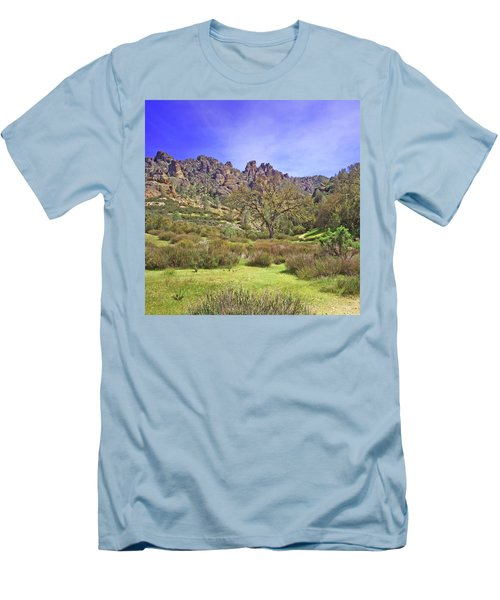 Men's T-Shirt (Slim Fit) featuring the photograph Pinnacles National Park Watercolor by Art Block Collections