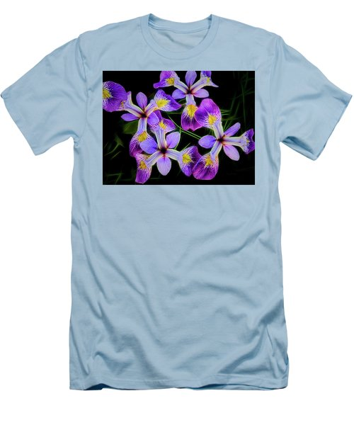 Pinwheel Purple Iris Glow Men's T-Shirt (Slim Fit) by Penny Lisowski