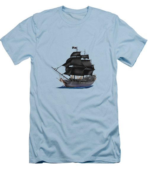 Pirate Ship At Sunset Men's T-Shirt (Slim Fit) by Glenn Holbrook