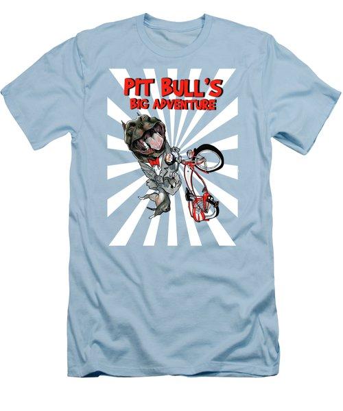 Pit Bull's Big Adventure Caricature Men's T-Shirt (Athletic Fit)