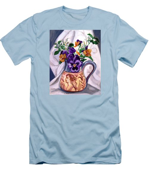 Pitcher Of Pansies Men's T-Shirt (Slim Fit) by Laura Aceto