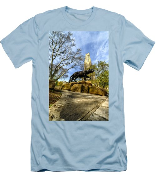 Pitt Panther Cathedral Of Learning Men's T-Shirt (Slim Fit) by Thomas R Fletcher