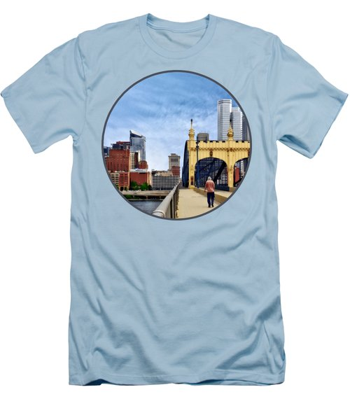Pittsburgh Pa - Crossing The Smithfield Street Bridge Men's T-Shirt (Slim Fit) by Susan Savad