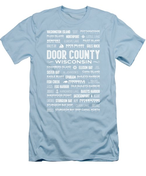 Places Of Door County On Blue Men's T-Shirt (Slim Fit) by Christopher Arndt