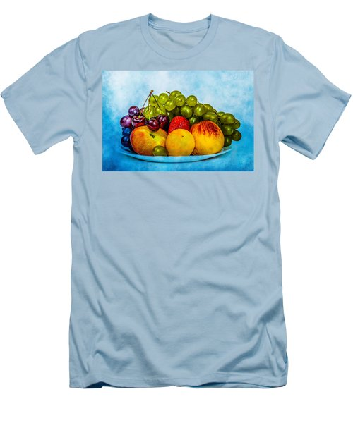 Men's T-Shirt (Slim Fit) featuring the photograph Plate Of Fresh Fruits by Alexander Senin