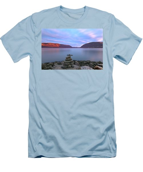 Plum  Point Rock Cairn At Sunset Men's T-Shirt (Athletic Fit)