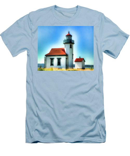 Point Robinson Lighthouse Men's T-Shirt (Slim Fit) by Greg Sigrist