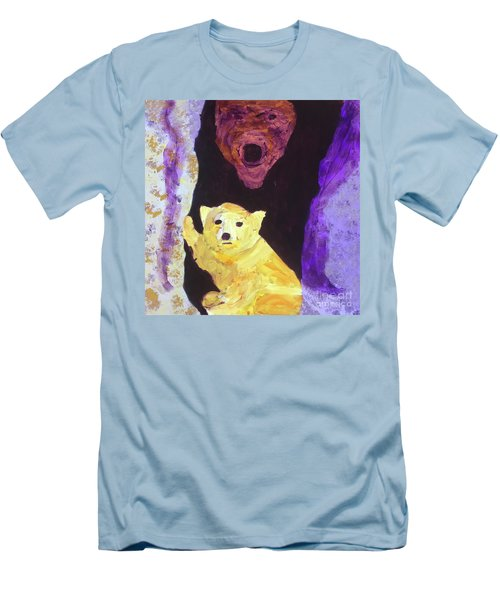 Men's T-Shirt (Athletic Fit) featuring the painting Cave Bear With Cub by Donald J Ryker III