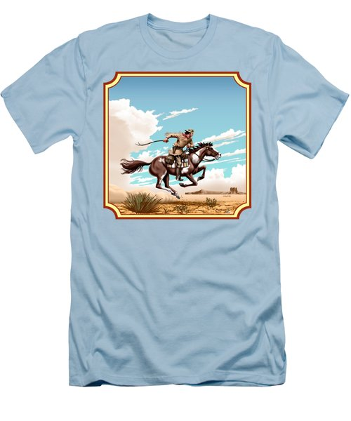 Pony Express Rider - Western Americana - Square Format Men's T-Shirt (Slim Fit) by Walt Curlee