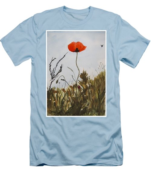 Poppy On The Field Men's T-Shirt (Slim Fit) by Manuela Constantin