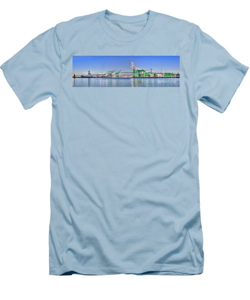 Men's T-Shirt (Slim Fit) featuring the photograph Port Of Los Angeles - Panoramic by Jim Carrell