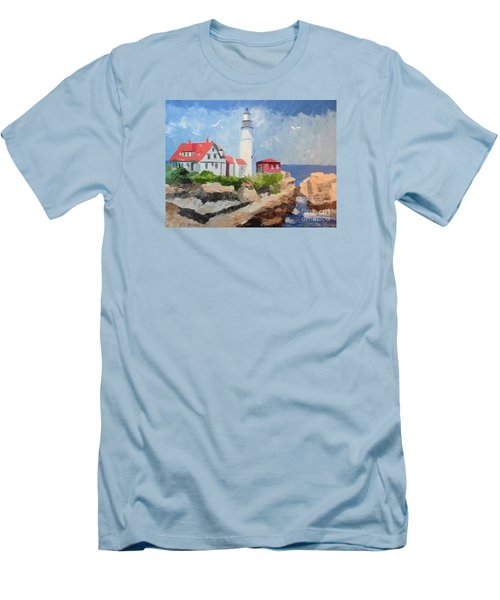 Portland Headlight By The Sea Men's T-Shirt (Athletic Fit)