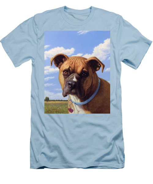 Men's T-Shirt (Slim Fit) featuring the painting Portrait Of A Sweet Boxer by James W Johnson