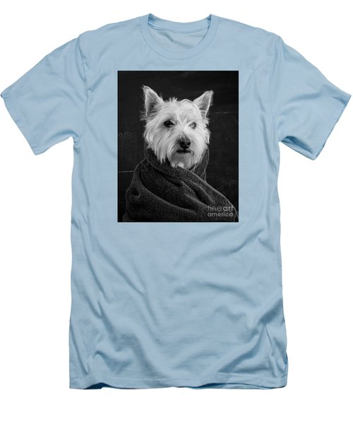 Men's T-Shirt (Athletic Fit) featuring the photograph Portrait Of A Westie Dog 8x10 Ratio by Edward Fielding