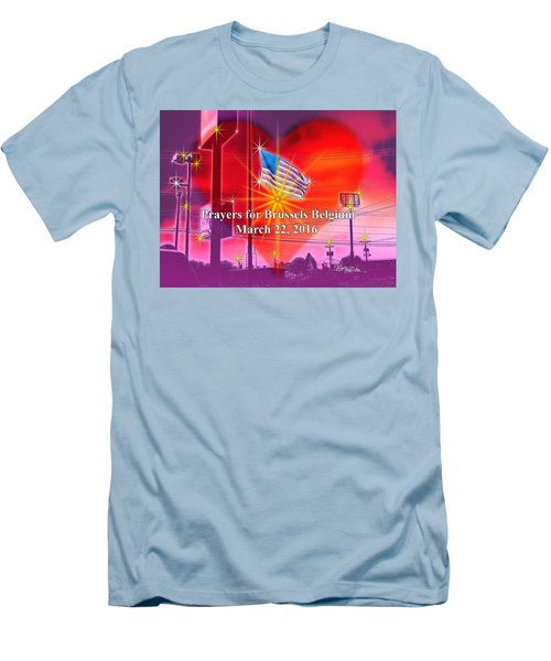 Prayers For Brussels #9726_4 Men's T-Shirt (Slim Fit) by Barbara Tristan