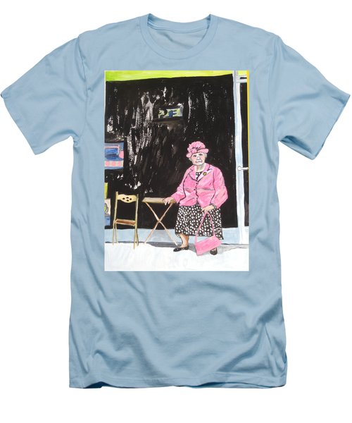 Men's T-Shirt (Athletic Fit) featuring the painting Pretty In Pink by Esther Newman-Cohen
