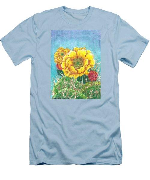 Prickly Pear Cactus Flowering Men's T-Shirt (Slim Fit) by Dawn Senior-Trask
