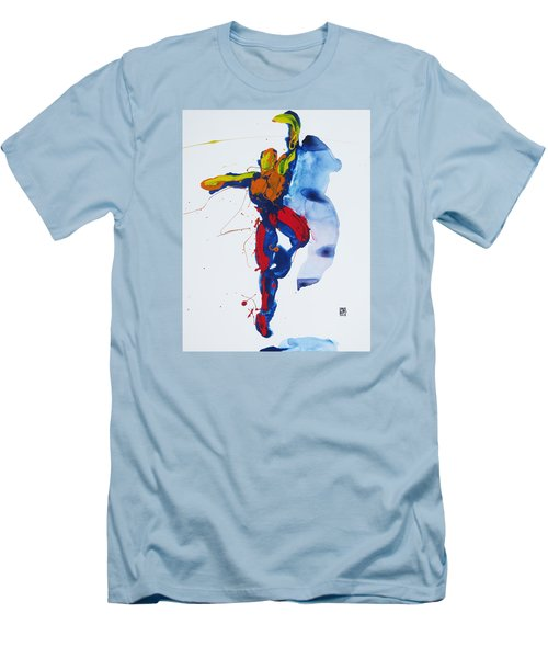 Men's T-Shirt (Slim Fit) featuring the painting Primary Vertical Jump Shadow by Shungaboy X