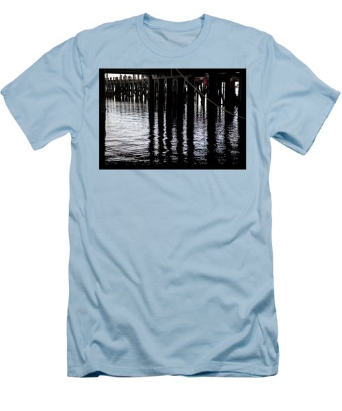 Men's T-Shirt (Slim Fit) featuring the photograph Provincetown Wharf Reflections by Charles Harden