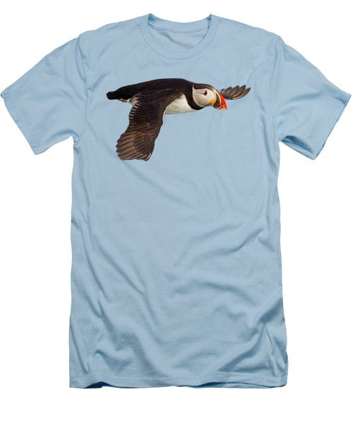 Puffin In Flight T-shirt Men's T-Shirt (Slim Fit) by Tony Mills