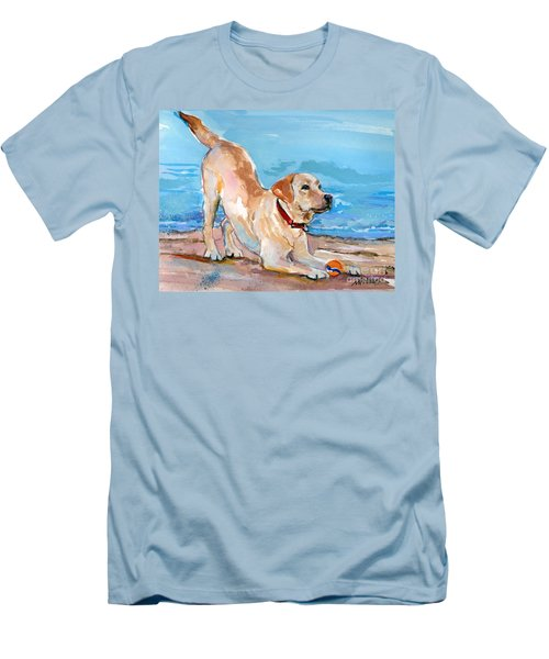 Puppy Pose Men's T-Shirt (Slim Fit) by Molly Poole