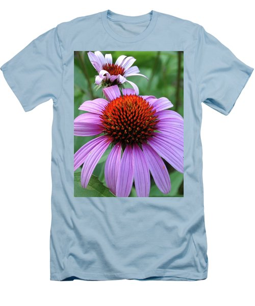 Purple Coneflowers Men's T-Shirt (Slim Fit) by Rebecca Overton