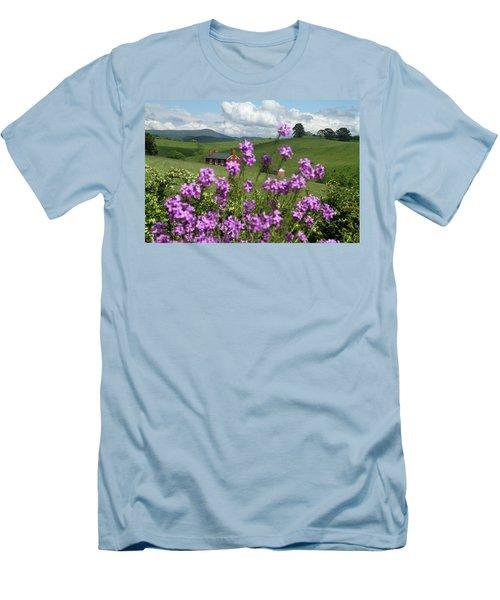 Purple Flower In Landscape Men's T-Shirt (Slim Fit) by Emanuel Tanjala