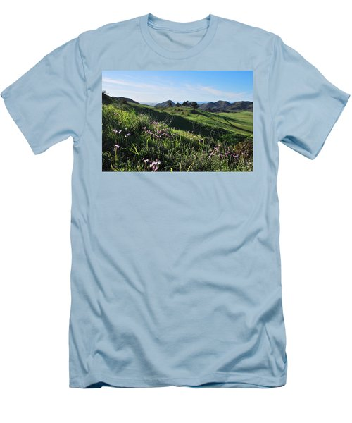 Men's T-Shirt (Athletic Fit) featuring the photograph Purple Flowers And Green Hills Landscape by Matt Harang