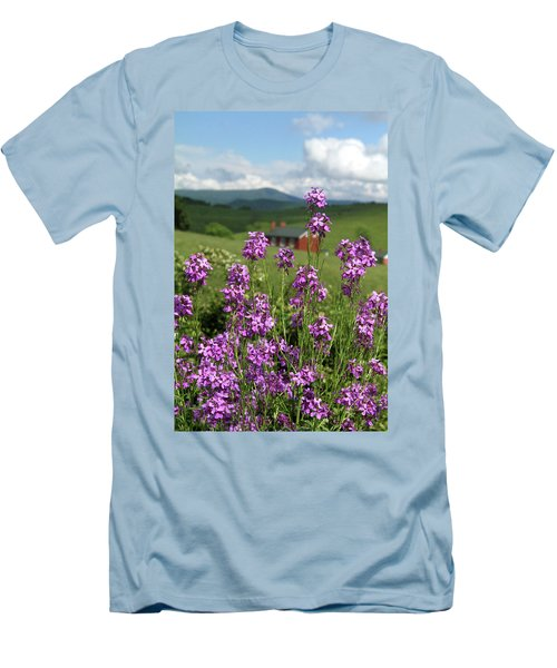 Men's T-Shirt (Slim Fit) featuring the photograph Purple Wild Flowers On Field by Emanuel Tanjala