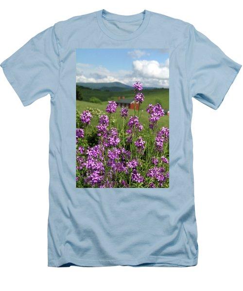 Purple Wild Flowers On Field Men's T-Shirt (Slim Fit) by Emanuel Tanjala