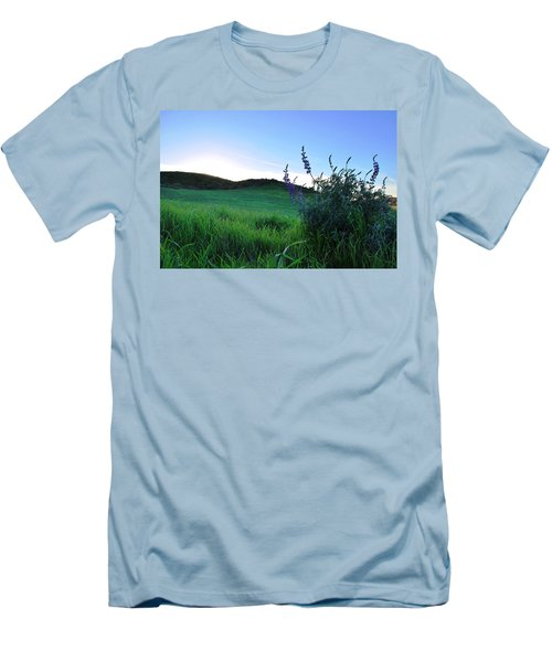 Men's T-Shirt (Athletic Fit) featuring the photograph Purple Wildflowers In Beautiful Green Pastures by Matt Harang