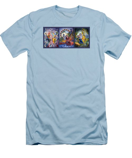 Radha Krishna Cosmic Leela Men's T-Shirt (Slim Fit) by Harsh Malik