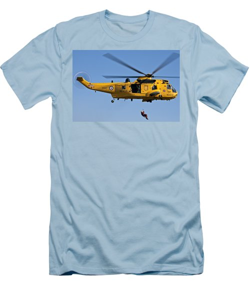 Raf Sea King Search And Rescue Helicopter 2 Men's T-Shirt (Slim Fit) by Steve Purnell