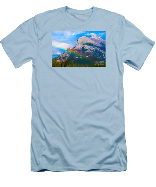 Rainbow On Mt Rundle Men's T-Shirt (Slim Fit) by John Roberts