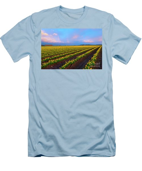 Men's T-Shirt (Slim Fit) featuring the photograph Rainbows, Daffodils And Sunset by Mike Dawson